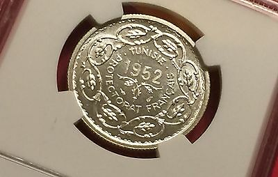 Tunisia Ah1372//1952 Silver 10 Francs Ngc Ms65 Extra Rare! Low Mintage! 4
