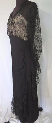 Rare Designer Vintage 1950'S Black Rayon Crepe & Lace Evening Dress Siz 8-10 5