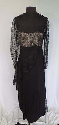Rare Designer Vintage 1950's Black Rayon Crepe & Lace Evening Dress Siz 8-10