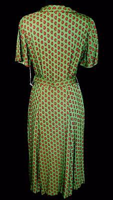 Rare Vintage Deadstock Never Worn 1950'S Green Rayon Paisley Print Dress Size 8 2