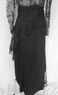 Rare Designer Vintage 1950'S Black Rayon Crepe & Lace Evening Dress Siz 8-10 8