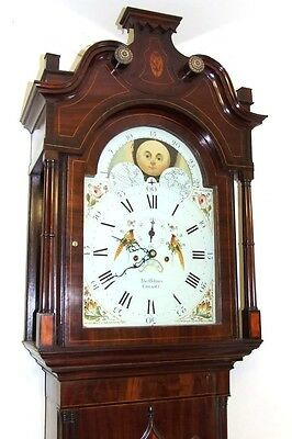Antique Mahogany Rolling Moon Longcase Grandfather Clock THOMAS HOLMES CHEADLE 2