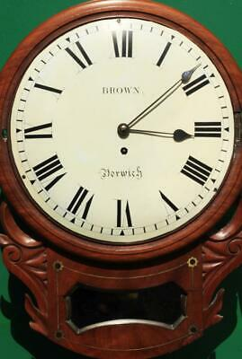"Brown Of Norwich Antique English 8 Day Fusee Mahogany 12"" Drop Dial Wall Clock 6"