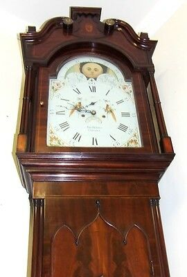 Antique Mahogany Rolling Moon Longcase Grandfather Clock THOMAS HOLMES CHEADLE 3