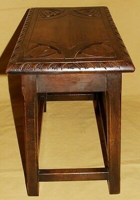 Antique Carved Solid Oak Joint Stool / Occasional Table / Lamp Stand (8) 7