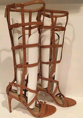 28c01a88b83d ... New BCBG Maxazria Gladiator Sandals boot cage hills camel 7 shoes  leather 5