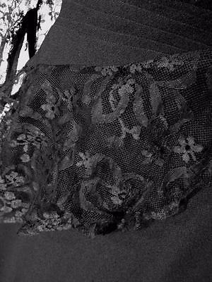 Rare Designer Vintage 1950'S Black Rayon Crepe & Lace Evening Dress Siz 8-10 9