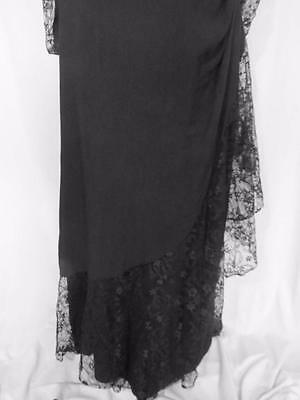 Rare Designer Vintage 1950'S Black Rayon Crepe & Lace Evening Dress Siz 8-10 4
