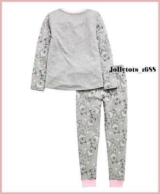 V By Very Girls Pyjamas Age 3 & 4 Years Grey Pink Wolf Long Sleeved P.Js rrp £20 3