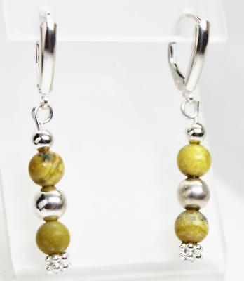~MGJ~ Sterling Yellow Turquoise & Bali  Beads Dangle Leverback EARRINGS 3