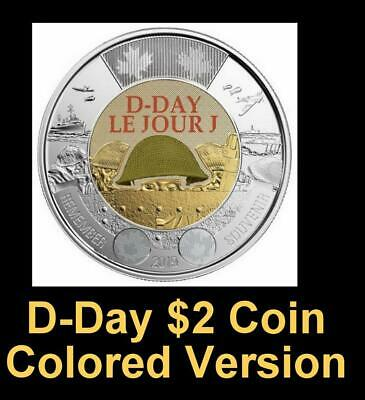 2019 CANADA 🍁 D-Day $2 Dollar Coin - Colored + $1 EQUALITY $1; BU from roll;🍁 2