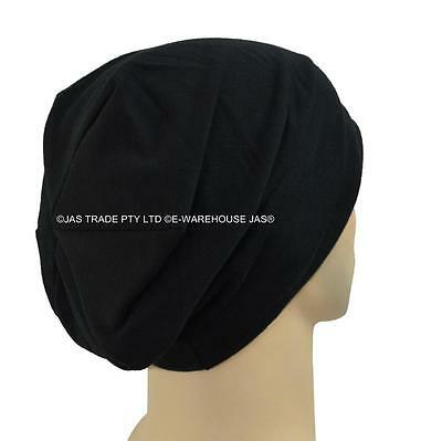 Unisex Ladies Men Slouch Beret Plain Jersey Baggie Baggy Hat Rasta Beanie COTTON