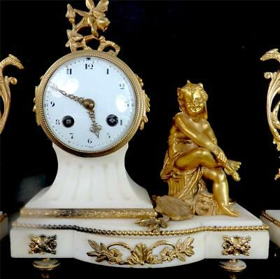 N552 Antique French Japy Freres 8 Day White Marble Clock Garniture Urn Set 2