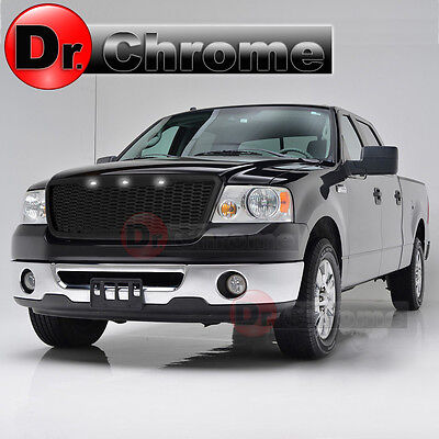 04-08 Ford F150 Raptor Style Chrome Package Mesh Grille+Shell+White 3x LED light