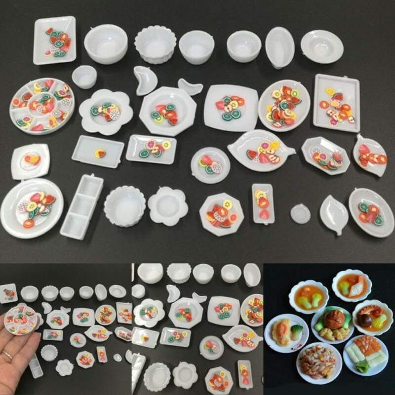 33Pcs/set Mini Kitchen Dishes Plate Food Tray Model Kids Toys Gift Accessories 2
