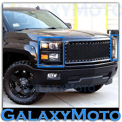14-15 Chevy Silverado 1500 Summit White Headlight+Taillight Trim Bezel Cover