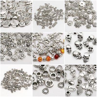 Abalorios de plata espaciador 100pcs para joyería pulsera europea 61 estilos 2