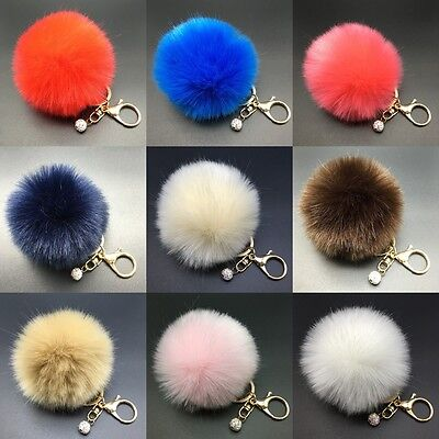 8CM Rabbit Fur Fluffy Pompom Ball Handbag Car Pendant Charm Key Chain Keyrings/ 2