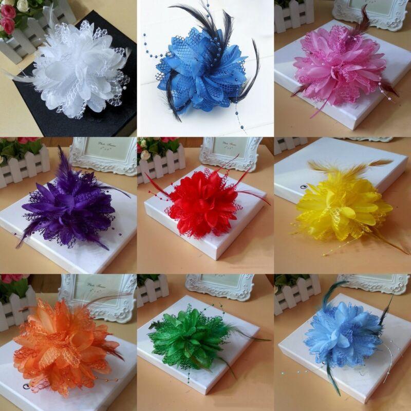Flower Feather Hat Hairgrip Hairpins Fascinator Hair Tools Headpiece Hair Clips 3