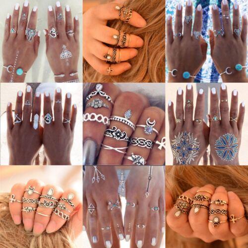 New Bohemian Vintage Women Silver Elephant Turquoise Finger Rings Punk Ring Gift 9