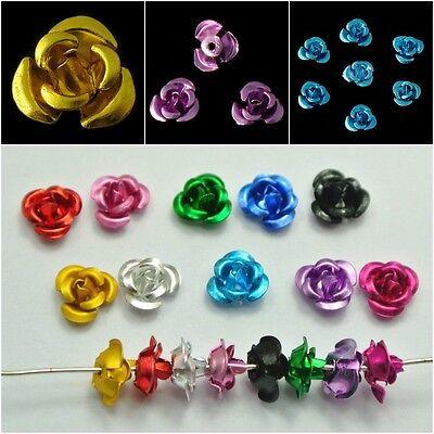 100 Stück Rosen Perlen Aluminium 6mm x 4mm Hochzeit Blumen 16 Farbe 3