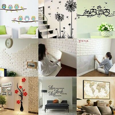 wandaufkleber blume eulen schmetterling baum wandtattoo kinderzimmer sticker eur 1 58. Black Bedroom Furniture Sets. Home Design Ideas