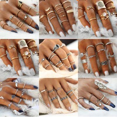 Retro 12Pcs/ Set Silver Gold Boho Arrow Moon Flower Midi Finger Knuckle Rings 5