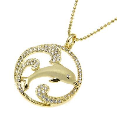 Yellow Gold On Solid 925 Silver Hawaiian Dolphin Ocean Wave Charm Pendant Cz