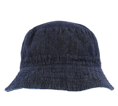 Men's Reversible Bucket Hat With Palm Tree/Leaf Design Denim Blue 2