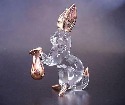 Glass RABBIT BUNNY HARE Clear Glass & Gold Painted Glassware Animal Ornament 3