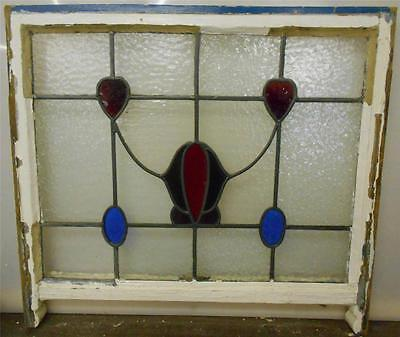 "LARGE OLD ENGLISH LEADED STAINED GLASS SASH Floral & Hearts design  28"" x 23"" 2"