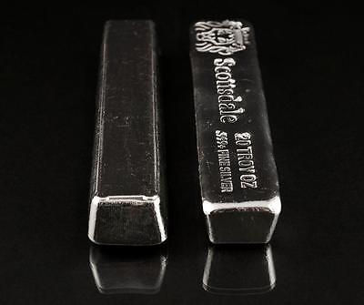 20 oz .999 Silver Bullion Long Cast Bar by Scottsdale Mint #A397