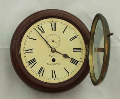 "Rare Miniature Antique English Mahogany 8 Day 7"" Fusee Dial Clock Webb Sandgate 3"