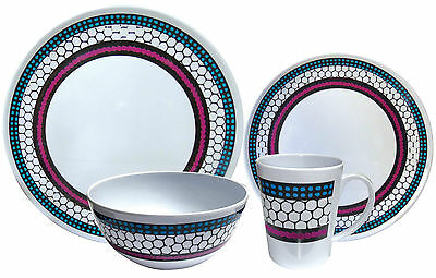 16Pc Melamine Square Set Dinnerware Plates Bowls Mugs Complete Picnic Dining Set