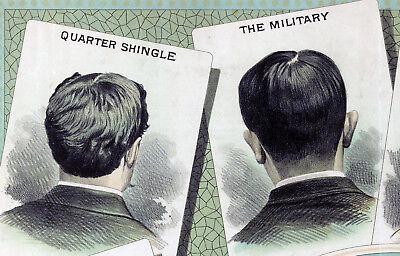 1884 Hair Cutting Chart Barber Shop Salon Wall Art Vintage Haircut Decor Poster 2