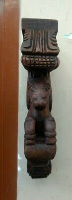 Wall Horse Corbel Wooden Bracket Hand carved Pony Sculpture Statue Home Decor US 6