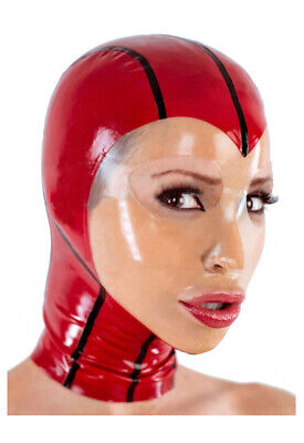 Latex Catsuit Rubber Gummi Face Red Female Sexy Hood Mask Cool Customized 0.4mm 3