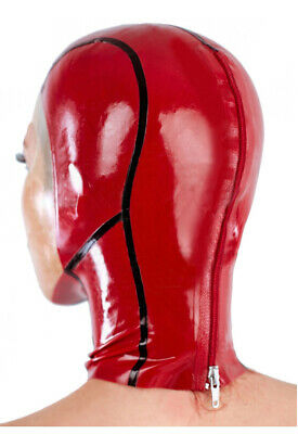Latex Catsuit Rubber Gummi Face Red Female Sexy Hood Mask Cool Customized 0.4mm 4