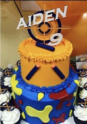 Pleasant Target Inspired By Nerf Birthday Cake Topper Personalized Cake Personalised Birthday Cards Veneteletsinfo