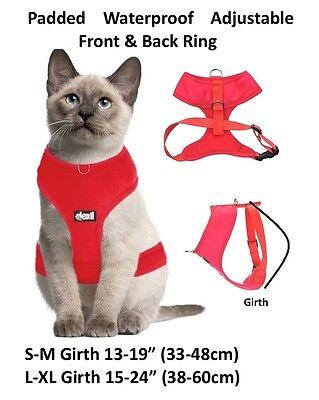 Cat Harness Pink Black Blue Yellow Red Waterproof Padded Adjustable  S M L EX L 9