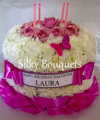 Artificial Silk Flower Birthday Cake Tribute Funeral Memorial Wreath Mum Nan Dad 5