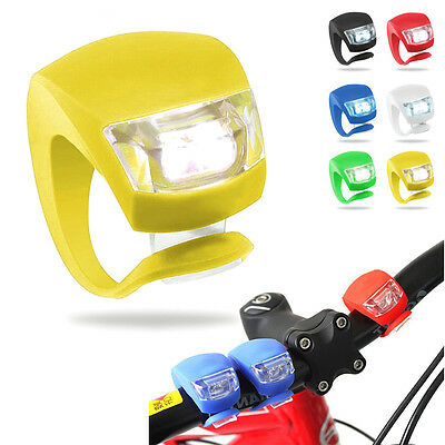 New Silicone Bike Bicycle Cycling Head Front Rear Wheel LED Flash Light Lamp 3