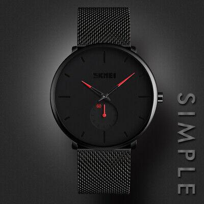 Mens Minimalist Ultra-Thin Analog Waterproof Dress Stainless Steel Wrist Watch 4