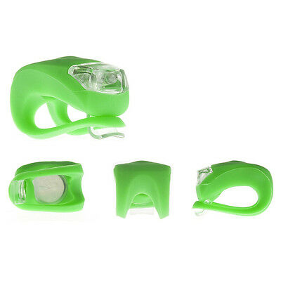 New Silicone Bike Bicycle Cycling Head Front Rear Wheel LED Flash Light Lamp 7