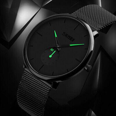 Mens Minimalist Ultra-Thin Analog Waterproof Dress Stainless Steel Wrist Watch 3