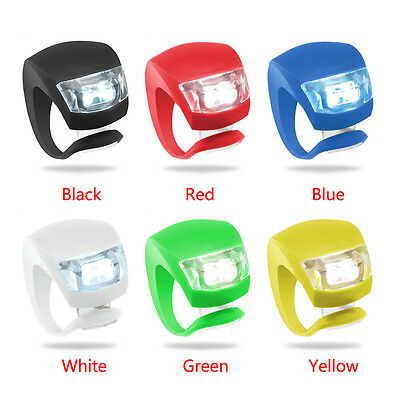 New Silicone Bike Bicycle Cycling Head Front Rear Wheel LED Flash Light Lamp 11