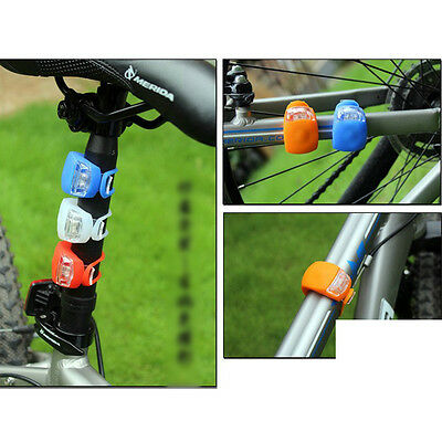 New Silicone Bike Bicycle Cycling Head Front Rear Wheel LED Flash Light Lamp 10
