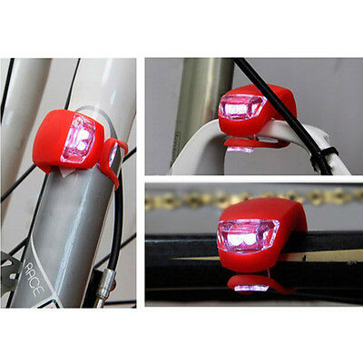 New Silicone Bike Bicycle Cycling Head Front Rear Wheel LED Flash Light Lamp 9
