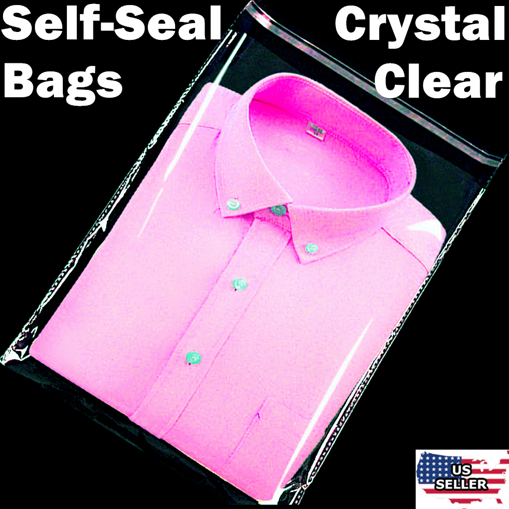 Clear 12x15 T Shirt Plastic Bags 5/100/1000/5K Reclosable Resealable Cello Poly 10