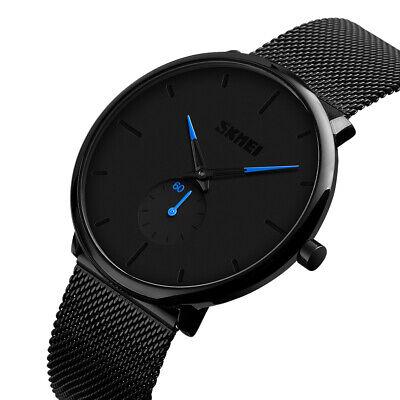Mens Minimalist Ultra-Thin Analog Waterproof Dress Stainless Steel Wrist Watch 2